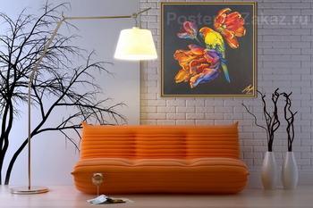 Модульная картина Попугайные тюльпаны.