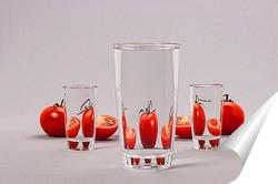Постер Спелые помидоры за стеклом