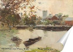 Постер Пейзаж с прудом и лодками