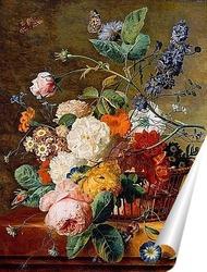 Постер Корзина с цветами и бабочками
