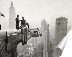Постер Перекур сверху горгульи, Крайслер Билдинг, 1940