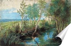 Постер Пейзаж с ручьем