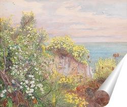 Постер Цветы на берегу моря