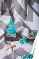 Постер Натюрморт с туалетной водой камнями и морскими звездами