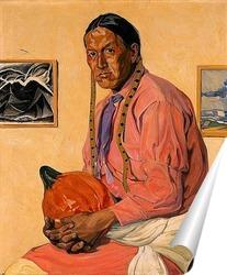Постер Мужчина с тыквой