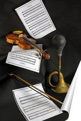 Постер Скрипка, ноты и клаксон