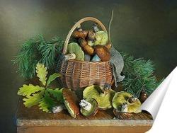 Постер Козинка с лесными грибами