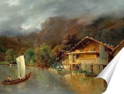 Постер Дом на озере Бринц с лодкой и утоками, 1832