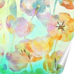Постер Акварельные тюльпаны