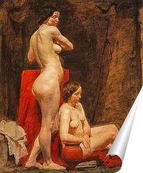 Постер Изучение двух женских обнаженных моделей