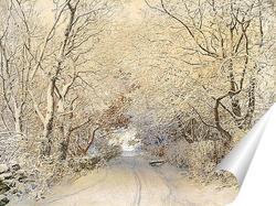 Постер Дорога,зимний пейзаж