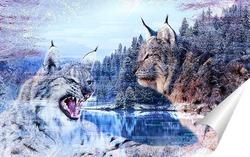 Постер Зимние рыси