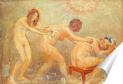 Постер Три женщины, моющие друг друга