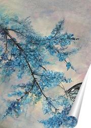 Постер Бабочка в синих цветах