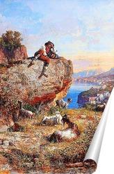 Постер Соррентийский пейзаж и пастух, 1893