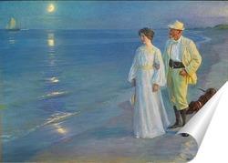Постер Летний вечер на пляже Скаген - художник и его жена