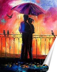 Постер Влюбленные под зонтом