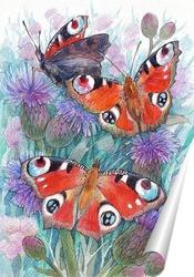 Постер Бабочки дневного павлиньего глаза
