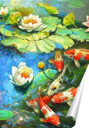 Постер Карпы и лилии