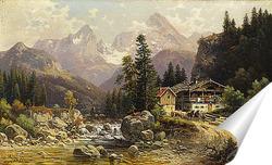 Постер Альпийский пейзаж с мельницей