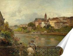 Постер Вид с середины моста Рейн на Базельский собор. 1889