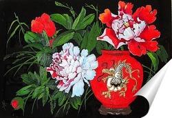 Постер Красный пион в китайской вазе