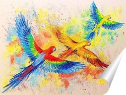 Постер Полет попугаев