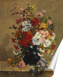 Корзина с цветами и бабочками