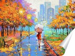 Постер Вечерний дождливый парк