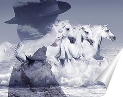 Постер Девушка и лошади