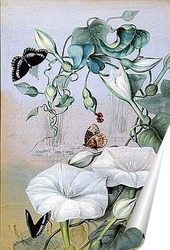 Постер Исследование лилий и бабочек около озера