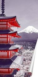 Постер Храм на фоне горы Фудзи