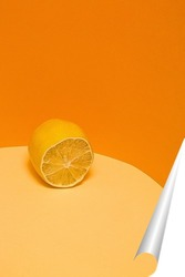 Постер Лимон на оранжевом фоне