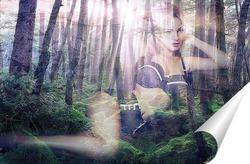 Постер Девушка на фоне леса