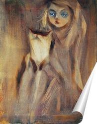 Постер Девочка с котиком