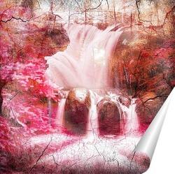 водопад и бабочки