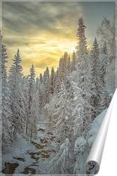 Постер Зимний пейзаж на печёрском водопаде