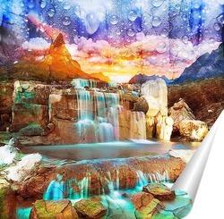 Постер Голубой водопад