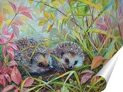 Постер Осенние ёжики