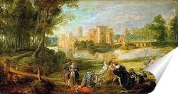 Постер Пейзаж с замком и парком Стен