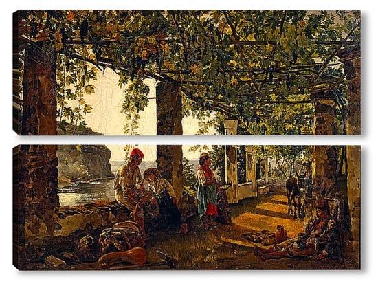 Модульная картина веранда, обвитая виноградом