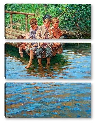 картина мальчик на рыбалке