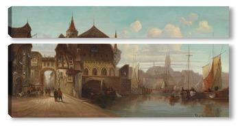 Модульная картина Портовый город