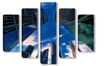 Модульная картина Небо и небоскребы-5