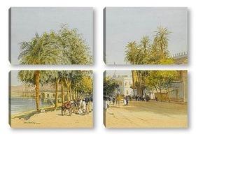 Модульная картина Вилла на берегу Нила