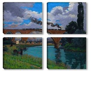 Модульная картина Железнодорожный мост через Марне в Джоинвилле