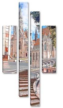 Модульная картина Архитектурная улочка
