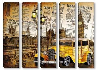 Модульная картина Желтая машина. Англия