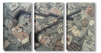 Модульная картина Карты, деньги, два ствола