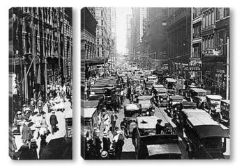 Модульная картина Хаотичное движение на улицах Чикаго.